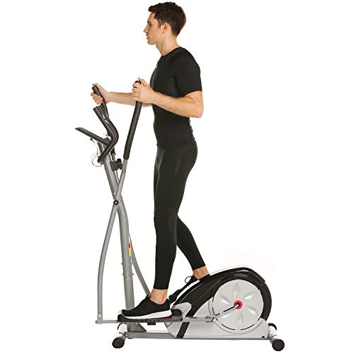 ANCHEER Elliptical Machine Trainer Magnetic Smooth Quiet Driven, Elliptical Exercise Trainer Machine with LCD Monitor and Heart Rate (Silver) by ANCHEER (Image #5)