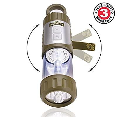 NIGHTLUX FL2 42 Lumen Camping Lantern and 13 Lumen LED Flashlight with Hand Crank , USB Charging and Hanging Clip by ENHANCE - Great for Camping , Boating , Power Outages and Emergency Use