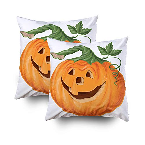 ROOLAYS Decorative Throw Square Pillow Case Cover 16X16Inch,Cotton Cushion Covers Halloween Halloween Pumpkin Happy face Both Sides Printing Invisible Zipper Home Sofa Decor Sets 2 PCS Pillowcase
