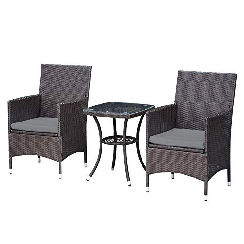 MCombo 3 Pieces Wicker Patio Set Outdoor Furniture Rattan Bistro Set Dining Chairs Porch Backyar ...
