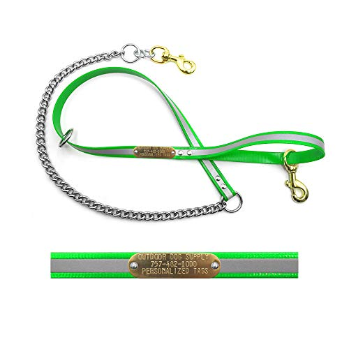 Outdoor Dog Supply Heavy Duty Reflective Chain Tree Lead with Custom Name Tag (Reflective Green)