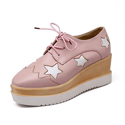 Amoonyfashion Donna Assortiti Colore Pu Tacchi Alti Quadrati Chiusi Scarpe Stringate Rosa-scarpe