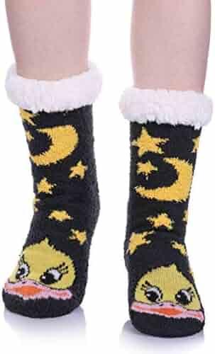 c13197aefce Womens Super Soft Cute Cartoon Animal fuzzy Cozy Non-Slip Winter Slipper  Socks