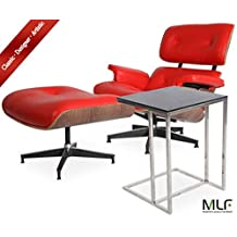 MLF Eames Lounge Chair & Ottoman + Rodolfo Dordoni Leger Side Table (Chair: Red Aniline Leather + Walnut, Table: Square)(42 Combinations)