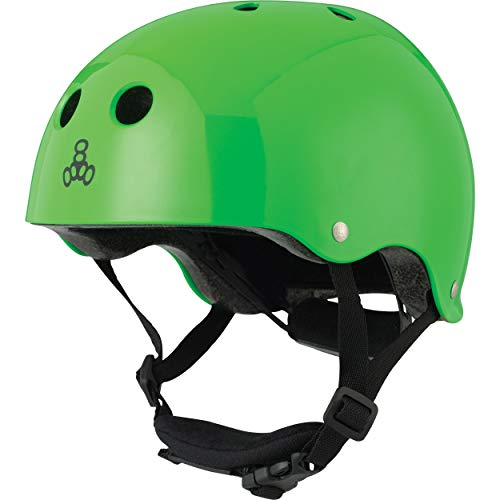 Triple Eight Lil 8 Dual Certified Sweatsaver Kids Skateboard and Bike Helmet with Padded Chin Buckle, Neon Green Glossy ()