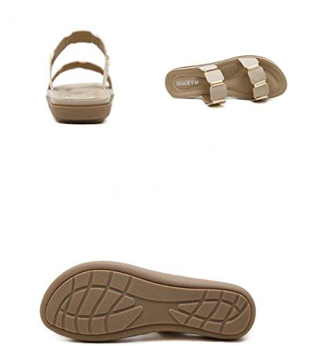 de Metal Zapatos playaGrande apricot Playa Sandalias Cómoda Sandalias Casuales Sandalias Sandalias de Ruanlei de Sandalias Planas y Chanclas Mujer para wHUEccnxqZ