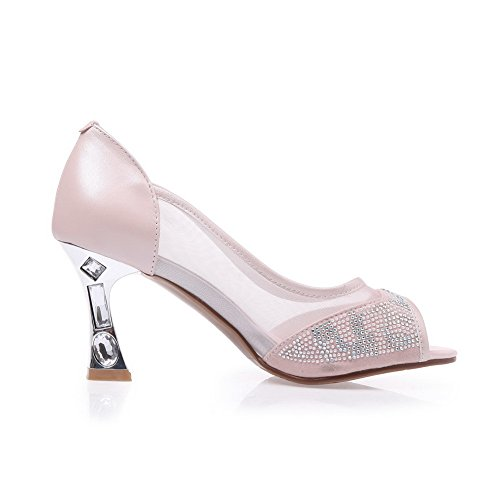 AllhqFashion Women's Soft Material Peep Toe High-Heels Pull-on Solid Sandals Pink wBETr