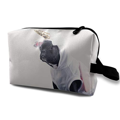 Cute Christmas Dog Boston Terrier Wearing Unicorn Pet Costume Multi-function Travel Makeup Toiletry Coin Bag Case