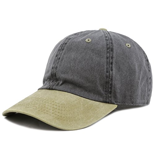 The Hat Depot Pigment Dyed Low Profile Six Panel Cap (Black Khaki)