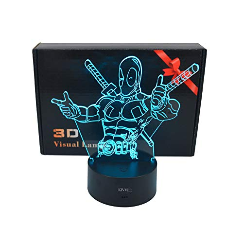 (3D Desk lamp Acrylic Deadpool Night light 7 color change Furniture Decorative colorful gift household Accessories Boy Toys)