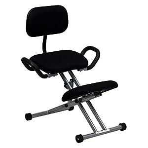 Flash Furniture Ergonomic Kneeling Chair with Handles - Black Fabric