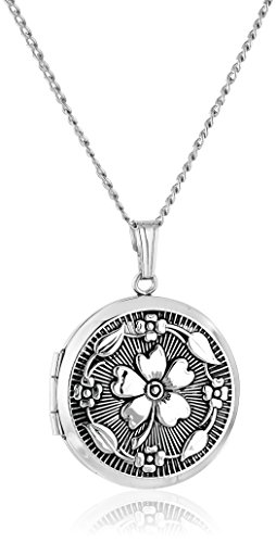 Sterling Silver Round Locket (Sterling Silver Embossed Antique-Finish Locket Necklace,)