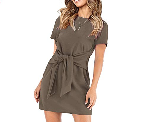 - Longwu Women's Loose Casual Front Tie Short Sleeve Bandage Dress for Party Work Summer Coffee-XL
