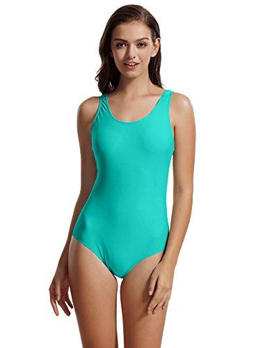zeraca Women's Plus Size Sport Racerback One Piece Swimwear Swimsuits (XL18, Lake Blue)