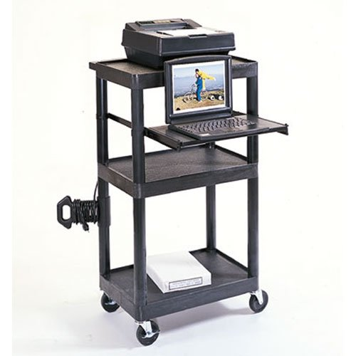 LUXOR LT45-B Mobile Presentation Workstation 3 Shelf Cart with Tray, ()