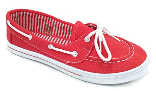 Delight 82 Canvas Lace Up Flat Slip On Boat Comfy Round Toe Sneaker Tennis Shoe, Coral, 6