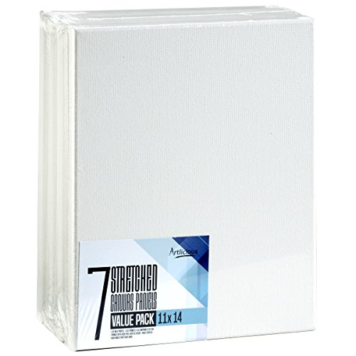 Artlicious - Super Value 7 Pack - 11x14 Pre-Stretched Cotton Canvas Panel Boards - Use with All Acrylics, Oils and...