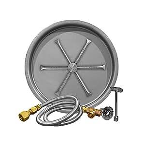 Firegear FPB-19RBS16MT-OAS-LP45 Match Light Gas Fire Pit Burner Kit, Round Bowl Pan, Propane, 19-inch
