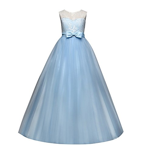 Children dress Little Big Girls'Tulle Dresses 6-14T Ruched Lace Pageant Party Fall Wedding Bridesmaid Floor Length Evening Dance Gowns Light Blue ()