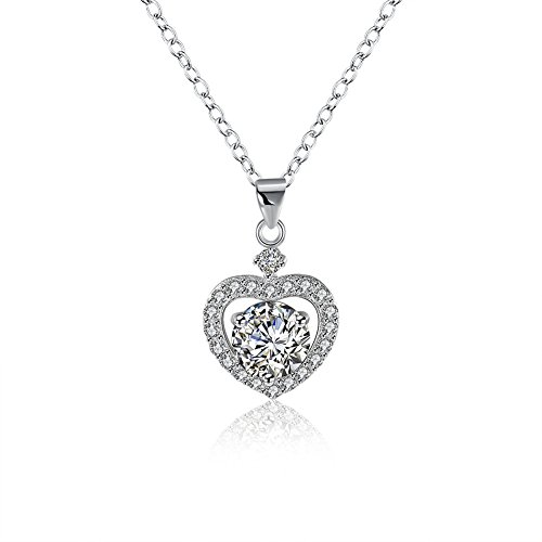 SUJWEL 925 Sterling Silver Chain Crystal Pendant Necklace - Love Halo Heart Necklace Round Cut Cubic Zirconia Diamond Cluster Womens ()