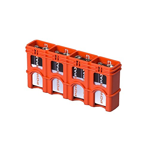 Storacell by Powerpax SlimLine 9V Battery Caddy, Orange, Holds 4 Batteries ()