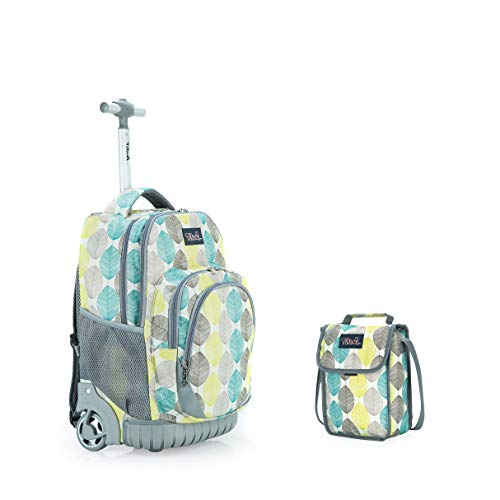 Tilami New Antifouling Design 18 Inch Wheeled Rolling Backpack Luggage & Lunch Bag,Leaves 2
