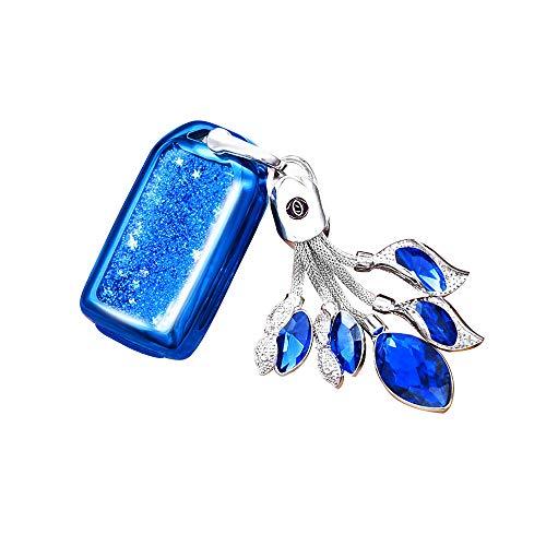 Blue Glitter Key Chain - JZ Car Key Fob Case with TPU Glitter Liquid Quicksand and Synthetic Bling Diamonds Ornaments for Honda Crider Accord Odyssey CR-V HR-V Pilot Vezel City Gienia Greiz Jade Spirior Elysion fit - Blue