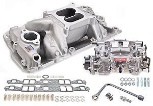 Edelbrock 2004 Single-Quad Manifold And Carb Kit For RPM Air-Gap Manifold w/Thunder Series AVS 800 cfm Carb Incl. Manifold/Fuel Line/Intake Bolts/Gaskets Satin Finish Single-Quad Manifold And Carb (800 Cfm Avs Carburetor)