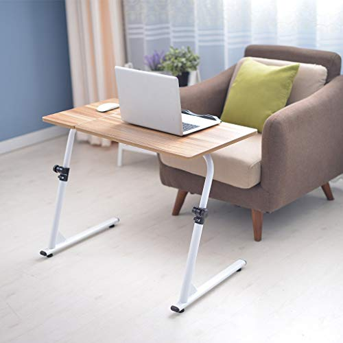 Show TINE ON Folding Computer Desk, Adjustable Portable Z-Shaped Laptop Table Computer Stand Desk TV Tray Home Office Desk Can Be Lifted and Lowered Black MDF + Steel Frame (Ancient Oak)