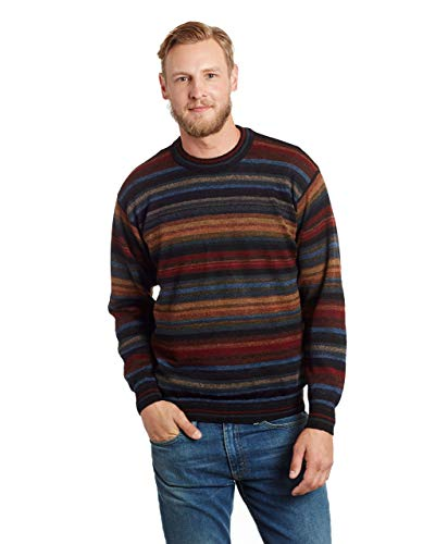 Invisible World Men's 100% Alpaca Wool Sweater Striped Crewneck Pullover XXL