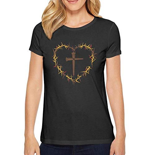 Milr Gile Women's Good Friday Heart Round Neck T-Shirts,Summer Casual Short Sleeve -