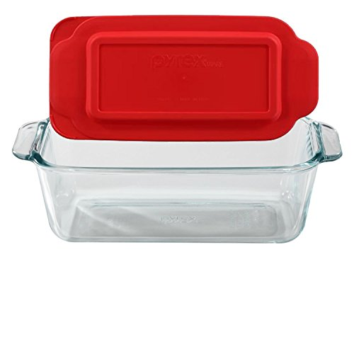 Pyrex Basics 1.5 Quart Loaf Dish with Red Plastic (Glass Loaf Dish)