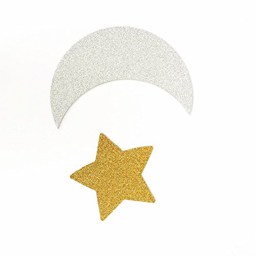 TooMeeCrafts Double Sided Silver Crescent Moon and Gold Star Twinkle Twinkle Little Star Party Decoration DIY Shaped Baby Shower or Birthday Party Pack of 24