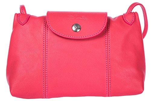 Longchamp borsa donna a tracolla pelle borsello fucsia