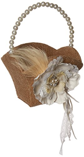 Wed Flower Girl Basket - Lillian Rose Rustic Burlap Lace Wedding Flower Girl Basket