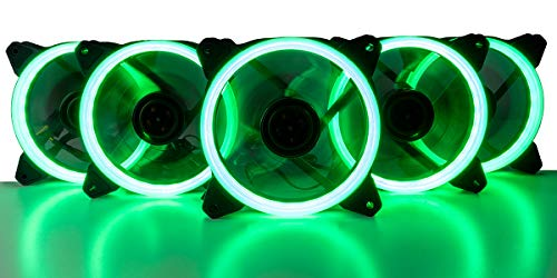 - CUK 5-Pack Green Halo Ring 120mm LED Vibrant Color Computer Case Fan CPU Coolers Radiators - High Airflow 45 CFM & Anti-Vibration Pads