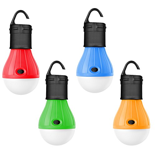 Darller 4 Pack Tent Light Bulb Waterproof LED Camping Lantern Portable Emergency Lights for Camping, Party, Hiking, Fishing, Hurricane, Storm, Outage, Outdoor Lighting