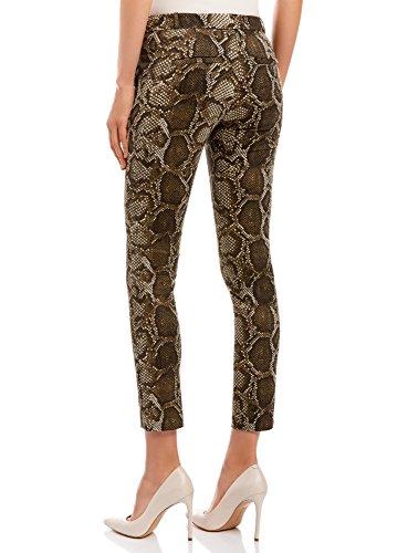 oodji Ultra Mujer Pantalón Ajustado Estampado de Pitón Verde (6639A)