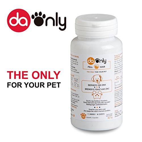 Bierhefe für ein starkes und glänzendes Hundefell, vermeidet Haarausfall bei Hunden, für normale Haut und Krallen, Vitamin E, Antioxydanten, Bierhefe mit Zink von DAONLY