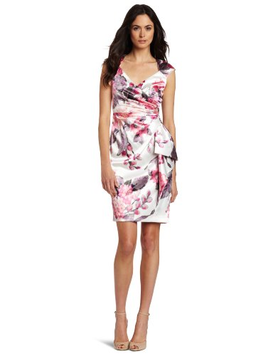 Maggy London Women's Side Ruched Printed Satin Dress