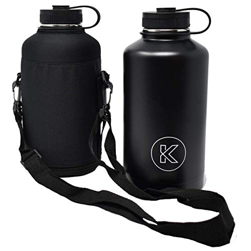 Kollox Growler Stainless Steel Vacuum Large Sports Hiking Picnic Water Bottle with Carrying Case, 64oz ()