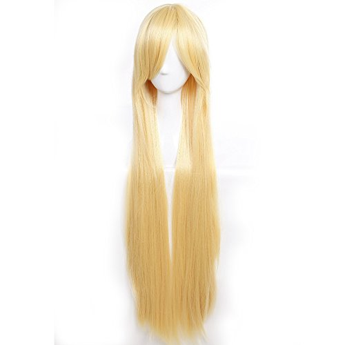 40 Inch Long Straight Anime Cosplay Wigs with Bangs Japanese Kanekalon Heat Resistant Synthetic Hair for Women Girls Halloween Costume Free Wig Cap 10 Colors(Golden (10 Unique Halloween Costumes)