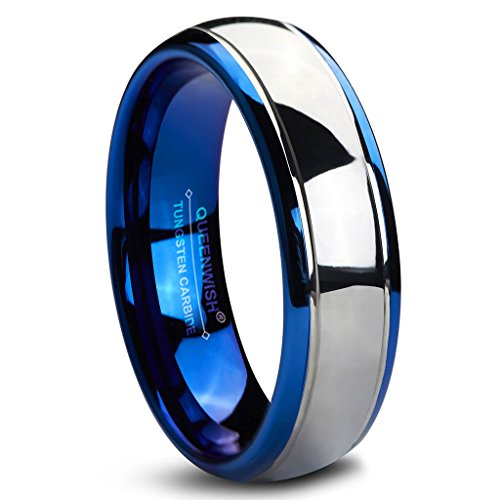 Queenwish Blue Tungsten Carbide Wedding Bands 6mm Silver Dome Bridal Rings for Couples 6.5