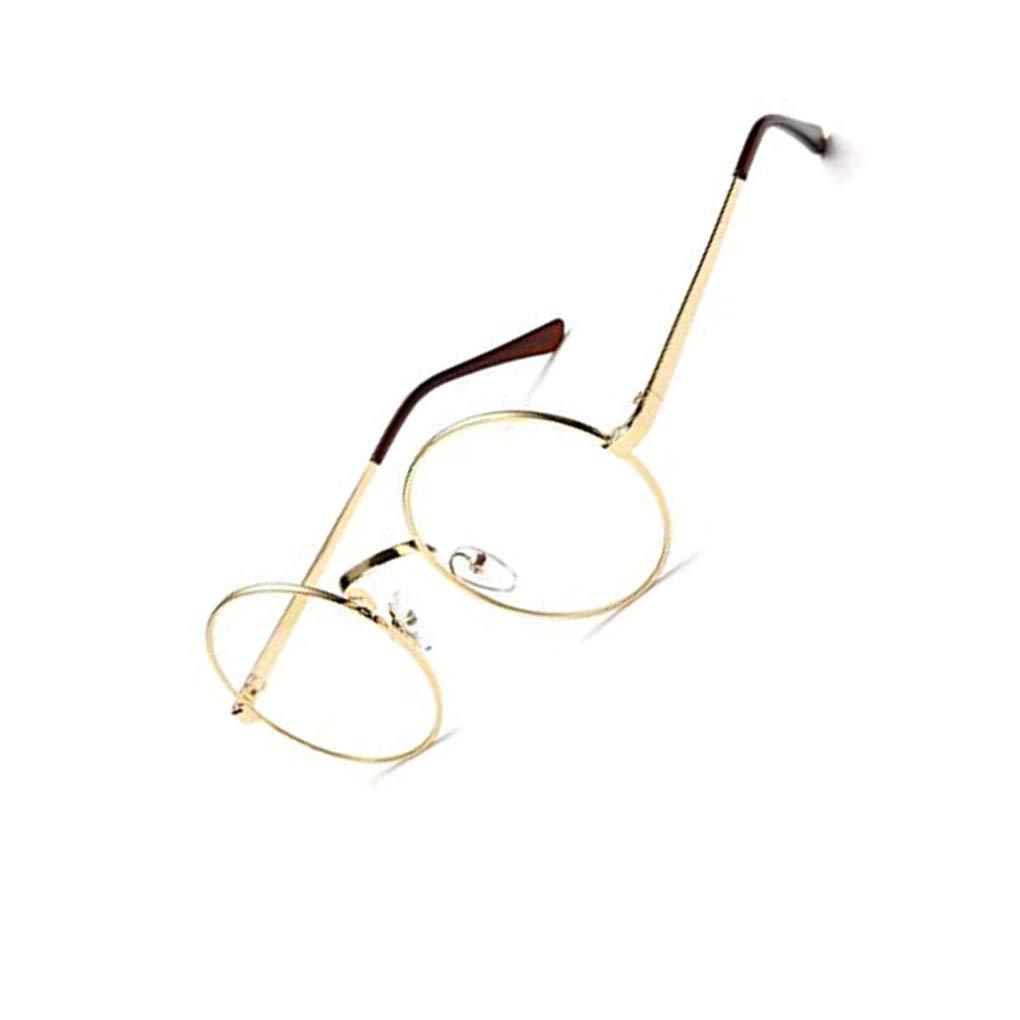 Bodbii Unisex koreanische Weinlese-Brillen-runder Metallrahmen Brille-freies Objektiv-Augen-Glas-Zubeh/ör