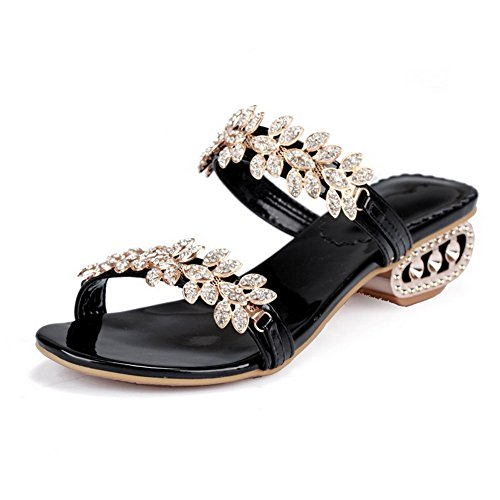 VogueZone009 Kitten Open Solid Black Slippers Cow Heels Women's Toe On Pull Leather 1Fr1q