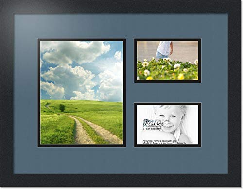 (ArtToFrames Collage Photo Frame Double Mat with 1-8x10 and 2-4x6 Openings with Satin Black Frame and Dutch Blue mat.)