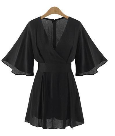 ZLL V-Neck trompette manches ladies combinaison en mousseline de soie robe taille taille mince combinaisons-pantalons jupe courte , 2xl