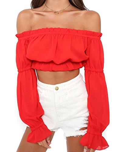 Women's Summer Casual Blouses Juniors Girls Chiffon Blouse Shirts Short Tube Tops S Red