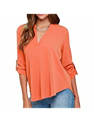Office Lady Women Long Sleeve V Neck Collar Blouse Casual Chiffon Tops Solid