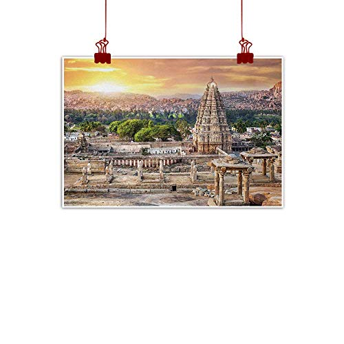 Decorative Music Urban Graffiti Art Print Asian,Viruphaksha Temple View Up from The Hills Sunset Above City Buildings Rock Tower,Cream Orange 32